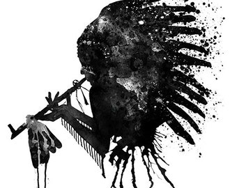 Black and White Native American Chief Silhouette Headdress Watercolor Wall art Aquarelle Splashes Wall decor Contemporary Feathers Art gifts