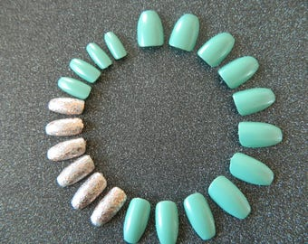 Turquoise and Glitter Short Coffin Style False Nails