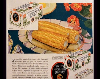 1930 Brookfield Butter Ad with Corn on the Cob - Wall Art - Home Decor - Kitchen - Swift's Brookfield - Retro Vintage Food Advertising