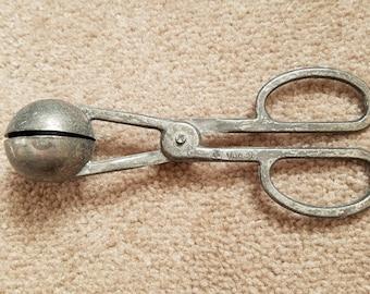Vintage silver melon baller/meat baller with scissor handles, scissor handled melon baller, melon baller, silver melon baller, kitchen decor