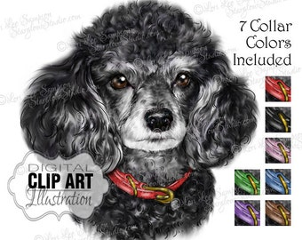 Poodle | Dog Clip Art | Color Illustration | Dog Clipart Digital Download Painting | Animal Art | Digital Scrapbooking | Scrapbook Supplies