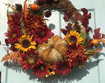 FREE Shipping, Wreaths, wreaths for front door, Thanksgiving wreath,  grapevine, Fall wreath, Autumn wreath, farmhouse,  October, Festive