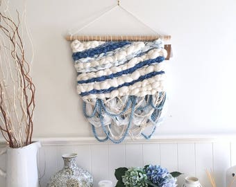 Indigo Blue Cream Woven Wall Hanging / Weaving / Tapestry