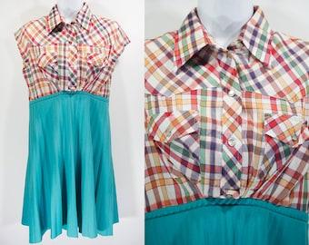 10 Dollar Sale---Vintage 70's Shirt + Skirt = Upcycled Dress M