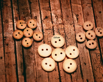 Wooden Buttons, Round Wood Buttons, 20 mm - Pack of 10, or 28 mm - Pack of 10