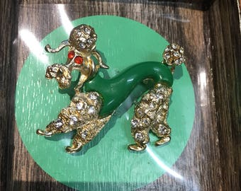 Rare 1950's Philippe Poodle Brooch With Original Box
