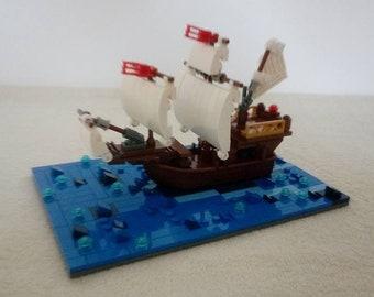 Mini scale Santa Maria Columbus flagship build out of LEGO® bricks