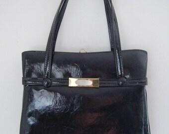 Vintage Handbag, Black Patent Leather, Mid Century Fashion, Mad Men Fashion, Women's Ladies Accessories