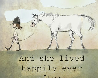And she lived happily ever after!  Hunter horse art.