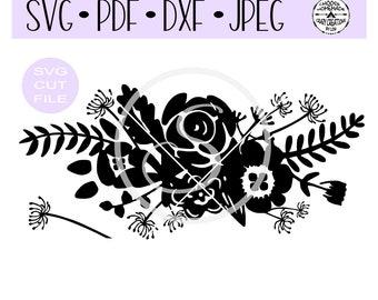 Floral Bouquet Flourish Silhouette SVG digital cut file for htv-vinyl-decal-diy-plotter-vinyl cutter-craft cutter- SVG - DXF & Jpeg formats.