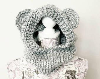 Bear Hood - Child Hat - Grey - Hooded Cowl