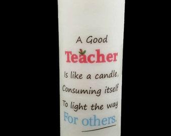 Teacher Appreciation All Natural Soy Pillar Candle. Teacher Gift.