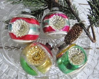 Vintage Glass Shiny Brite Double Indent Round Ornaments Bell Striped SilverGlitter Gold Red Green Blue Yellow Six Retro Christmas Tree Decor
