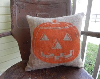 Fall HALLOWEEN JACK o LANTERN Fun Painted Burlap Decorative Throw Pillow Halloween Decor Throw Accent Pillow Home Decor