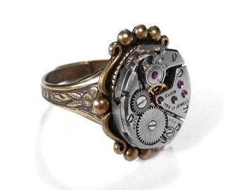Steampunk Jewelry, Steampunk Ring Vintage Watch Adjustable SIGNET ORNATE Setting, Boyfriend Ring, Girlfriend Ring - Jewelry by edmdesigns