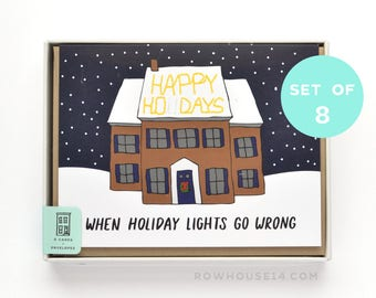 Funny Christmas Cards - Happy Holidays Card Set - Holiday Lights -Set of 8