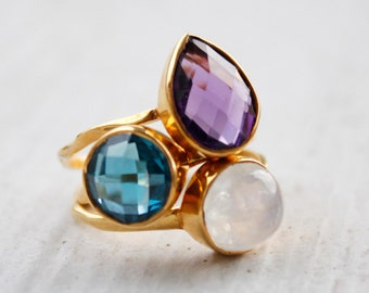 Gemstone Stacking Rings - Set of Rings - You choose 3 - Gold & Silver Rings