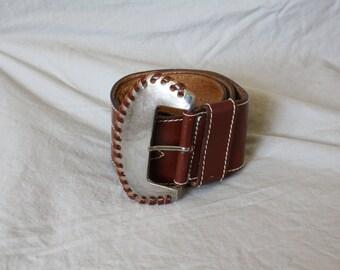 1980s Leather Belt / Wide Leather Belt / Vintage Womens Leather Belt / Silver Buckle Belt / Cowgirl Leather Belt M 27/31