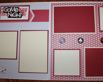 Family Game Night 12 x 12 premade scrapbook layout 3D handmade photo ready, dominos, cards ,board games