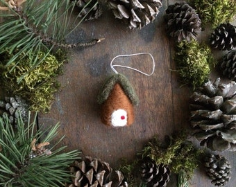 Wool cottage ornament, Fox Brown, needle felted house ornament, first home ornament, newlywed ornament, housewarming gift, brown felt house