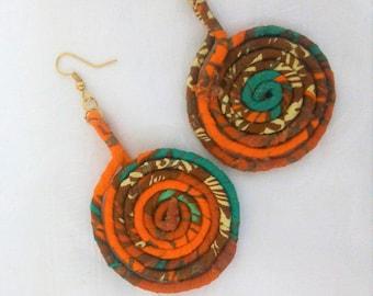Wire Wrapped Ankara Earrings|Spiral Earrings|Ankara Earrings|Big Spiral hoops|African spiral Earrings|The Elegant Ear|Wire Jewelry|Wrapped