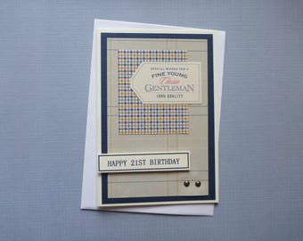 Classic Masculine 21st Birthday Card  FREE SHIPPING