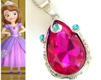 PRINCESS SOFIA Amulet, Sofia The First Amulet, Pink Amulet, Princess Sofia Crystal Amulet, Princess Sofia Necklace, Princess Sofia Charm