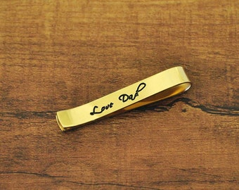 FREE Shipping-Personalized Tie Clip, Custom Handwriting Tie Clip, Engraved Signature Tie Clip, Custom Men's Gift, Gift for Father's day