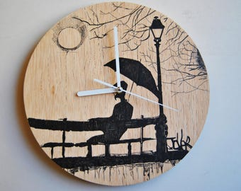 Hand painted. Plywood wall clock. Silent.
