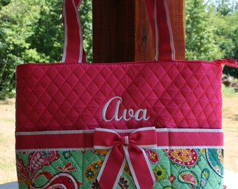 Personalized Pink Paisley Diaper Bag Quilted Baby Shower Gift
