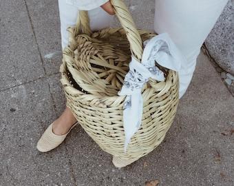 Straw basket bag Jane Birkin beach bag tote egg basket