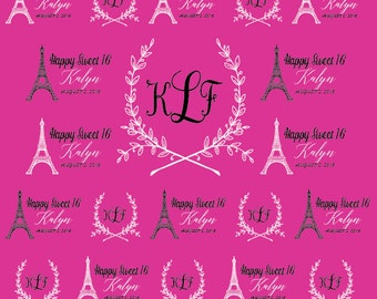 Paris Party Sweet 16 backdrop, Small, Vinyl Backdrop for Sweet 16 party, Photo Booth, Banner for girl's birthday