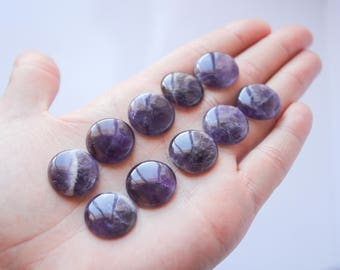 One Pair Amethyst Cabochon Round amethyst crystal Jewelry Craft Supplies loose stone bulk amethyst lot raw crystal round Gemstone Cabochon