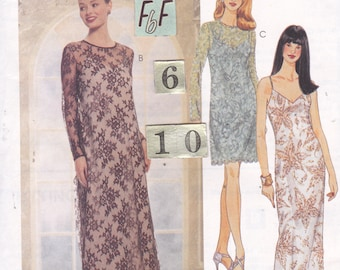 Fitted Evening Dress, Lace Overdress Sewing Pattern/ McCall's 8981 Womens low cut spaghetti strap sheath & loose dress, UnCut / Size 6 8 10
