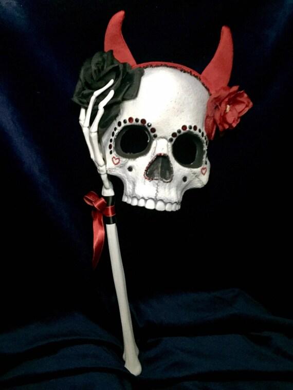 Devil Horned Sugar Skull Original Masquerade Day Of The Dead Halloween Dia De Los Muertos Biohazard Baby Mask