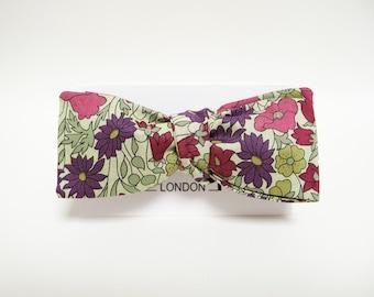 Retro purple plum floral batwing bow tie