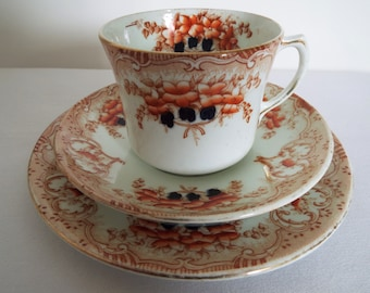 Edwardian Teacup and Saucer And Cake Plate With Orange Flowers. English Antique China Tea Cup Trio. Perfect For A Pretty Afternoon Tea Party