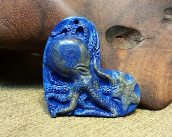 Sale #EarthDay ~ Octopus carved in Sideway Natural Lapis Lazuli Heart Shape