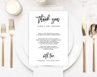 Printable Wedding Thank You Letter Welcome Cards - Editable Template Instant Download - BRUSHED #BCC