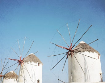 Greece photograph - windmill art print - aqua blue white wall art - minimalist home decor - Greek Islands architecture art - Windmills Three