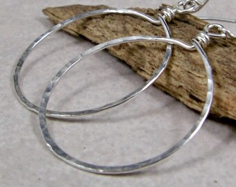 Medium Silver Hoop Earrings Sterling Silver Hammered Earrings Silver Hoops Gifts for Her Eco Friendly Jewelry