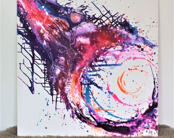 "Large Original Abstract Acrylic Painting ""Cosmic Gaze"""