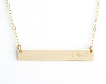 "Long Bar Initial Necklace, 1.50"", Personalized, Gold Filled, Sterling Silver, Rose Gold Filled"