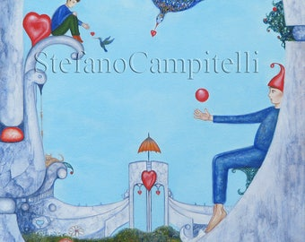 Campitelli Garden of Paradise original oil painting on canvas surreal fantasy Art pop surrealism