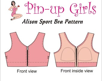 The ALISON front closing, sport and activity bra PATTERN by Pin Up Girls