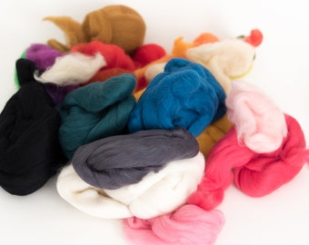 Wool Merino Wool Roving Felting Spinning Fiber Mixed Bag 8oz