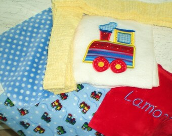 "Appliqued Minky Baby Blanket Kit  "" All Aboard"""