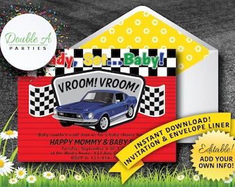 Racing Baby Shower Invitation - Boy Baby Shower, Car Themed Baby Shower, Muscle Cars Invitation, Self Editing Invitation, Instant Download