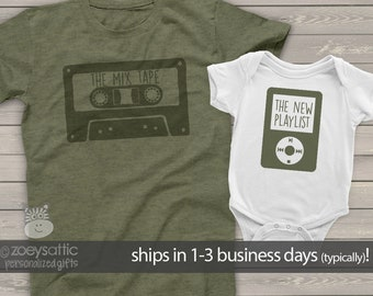 new dad and baby funny matching shirts   father's day shirt set   mix tape and playlist shirts   dad, mom kiddo shirt set cassette MDF1-108
