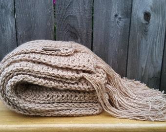 Chunky Knit Throw | Bulky Beige Blanket | Bulky Blanket | Beige Throw | Bulky Crochet Throw | Tan Blanket | Chunky Knit Blanket
